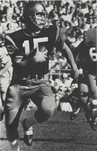Former Cleveland Browns quarterback, Mike Phipps, is seen playing for Purdue University. He was an All-American quarterback there before being selected with the No. 3 pick in the 1970 NFL Draft.