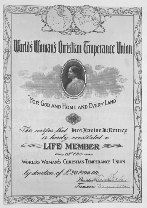 Louise McKinney, World's Women's Christian Temperance Union Certificate awarded to Louise McKinney, 1910