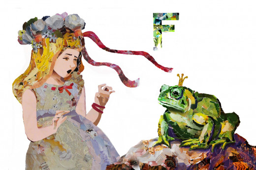 F is for the Frog Prince, from my children's book, The FairyTale Alphabet Book, Fairy Tales and Folk Tales from Around the World.