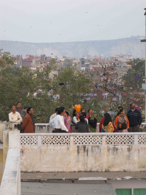 Crowd at roof top: Makar Sankranti: Kite flying festival in Jaipur