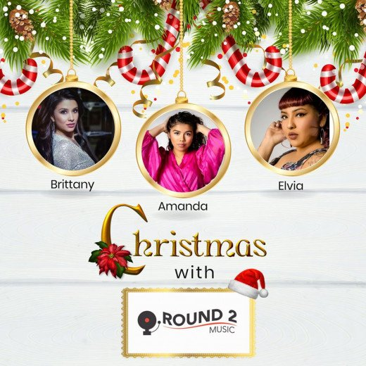A Christmas album with the three ladies of Round 2 Music. Pictured with Elvia are singers, Brittany Nicole and Amanda Rivera