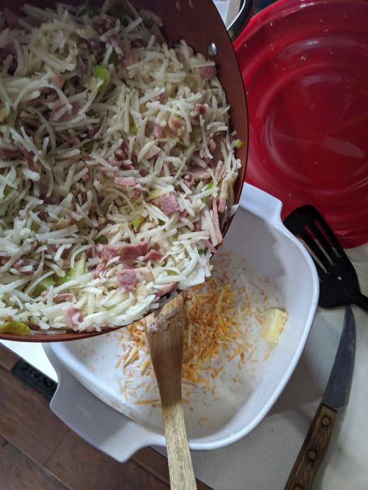 A little cheese, Add potato mixture