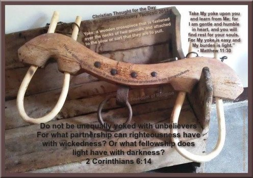 Practicing Christianity in the United States  - unequally yoked.