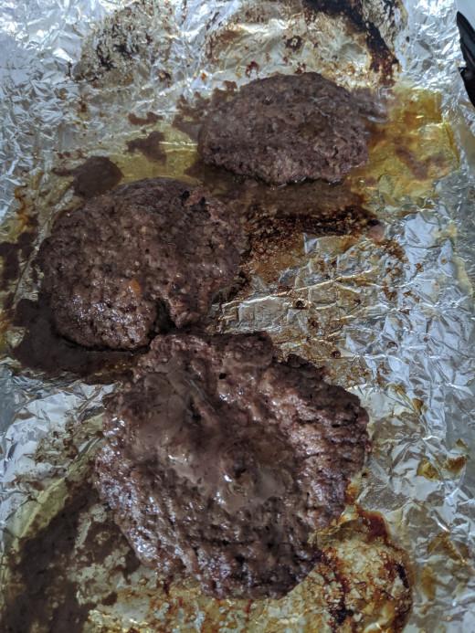 Broil a 1/3 pound hamburger