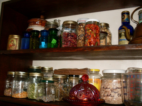 I am proud of my shelves of carefully preserved dried goods. My favorites are peppers and, of course, colorful grains and legumes.