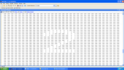 Snap of a digit by reading through MATLAB