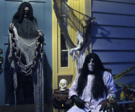 """L"" and the Grim Reaper who adorns my door each Halloween."