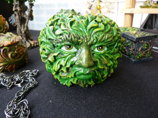 The Green Man is often seen within Wicca. He symbolises the symbolise the cycle of life, death and re-birth.