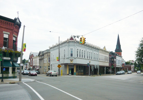 Corner of Lake Street (to the left) and Main Street (to the right) in the Borough of North East, Erie County, Pennsylvania.