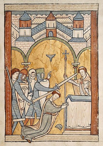 Murder of Thomas Becket. Attribution: 13th Century manuscript illumination.