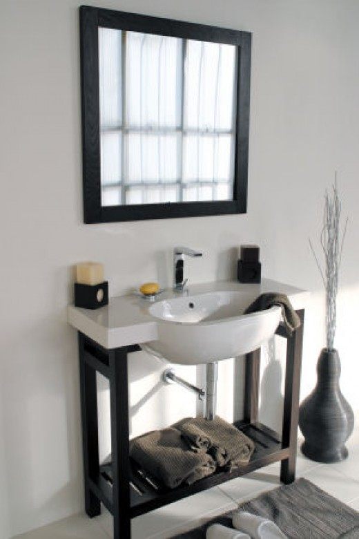 A vanity mirror over a sink can make for a striking décor choice