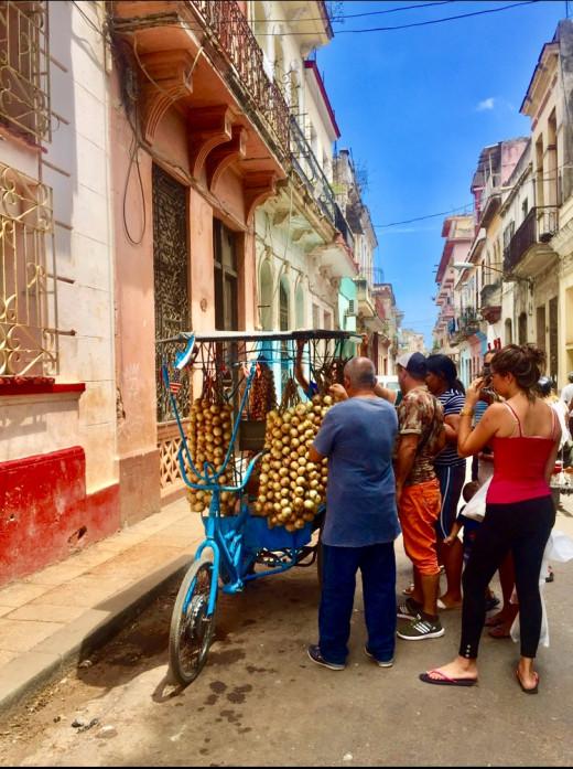 A street vendor selling onions in Centro Havana.