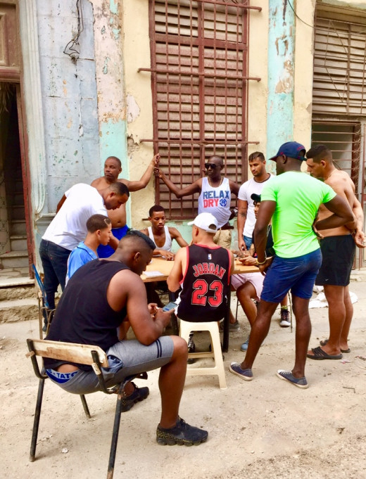 It is not unusual to come across tables out on the street, where people are playing domino.  The game may be quite noisy and is a very popular Cuban pastime.