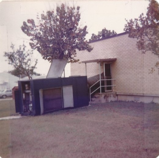 A portable air conditioning unit at Building 749, Brooks AFB, TX.