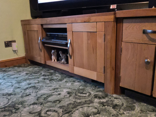 I placed a piece of teak hardwood in front of the Wii, underneath the cupboard, to prevent the eufy from getting stuck in behind the Wii.