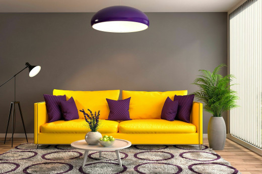 mix yellow and violet in design
