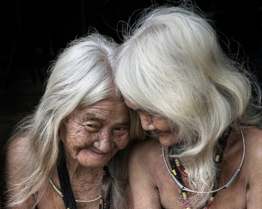 Old women with white hair