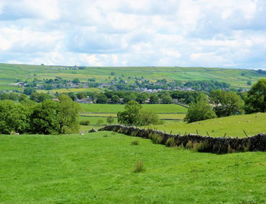 The long view downhill from Linton over Grassington