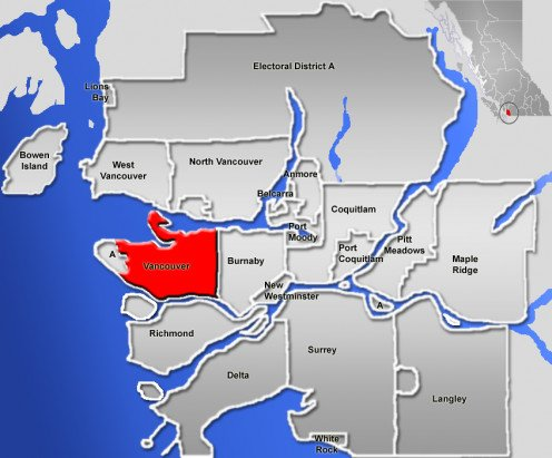 Map location of Vancouver, British Columbia