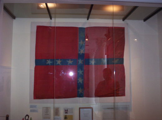 The flag used in draping the coffin of Texas General Albert Sidney Johnston