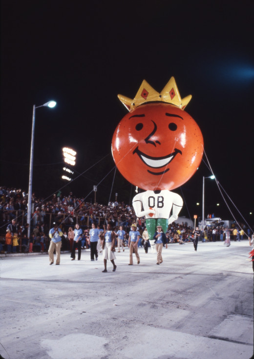 """'Obie""""  balloon, a highlight of the former after dark Orange Bowl Parade"""