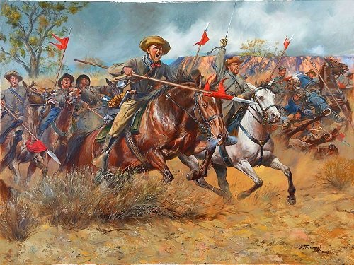 Texas lancers also saw combat in the war