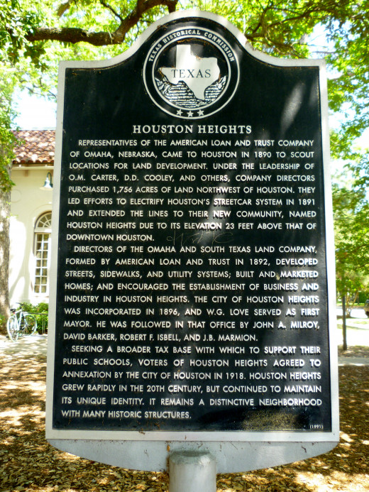 Texas Historical Commission Sign: Houston Heights