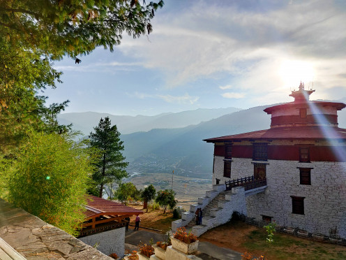 The view of sunset from National Museum of Bhutan, Paro
