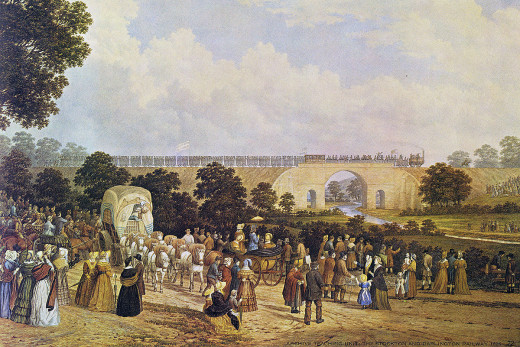 'Locomotion No. 1' takes its inaugural train across the River Skerne bridge on her way to Stockton Quay on 27th September, 1825