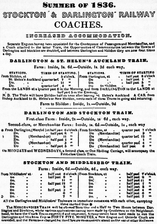 S*DR passenger timetabble - in the early days only coal and goods weere steam haúled, passengers were taken by rail-bborne, horse-drawn coaches much like those that ran on the road.