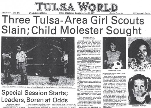 The June 14, 1977, edition of Tulsa World Newspaper with the Girl Scout Murders on the front page.