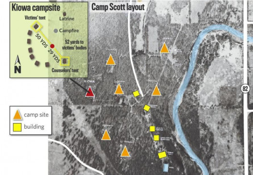 Camp Scott layout where the bodies of three Girl Scout were found on June 14, 1977. Photo courtesy of Tulsa World.