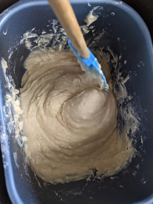 gets thicker, use spatula to pull flour from sides of bread machine