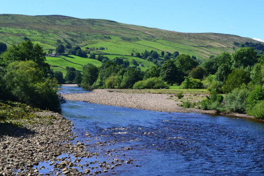 The River Swale, near where Arkle Beck joins after passing by Reeth