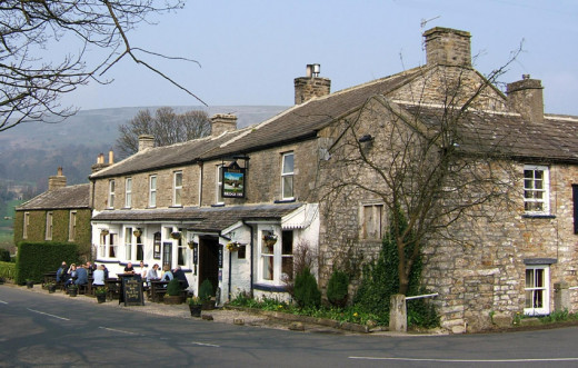Bridge Inn, Grinton on a glorious sunny summer's day - the centre span of the bridge close by was swept away by the raging Swale in 2019's 'summer of discontent'