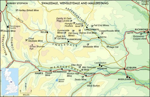 The central Dales - Yorkshire - an outline map that shows how Swaledale and its 'neighbours' fit together