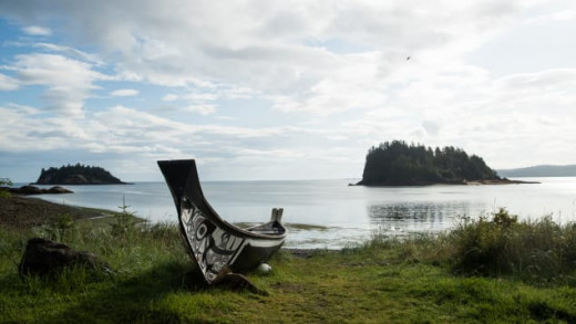 Haida Hand-Carved Canoe