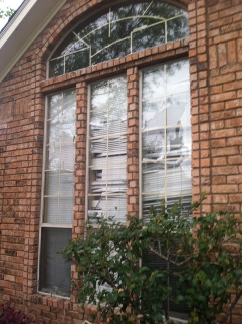 One of two triple window on house front