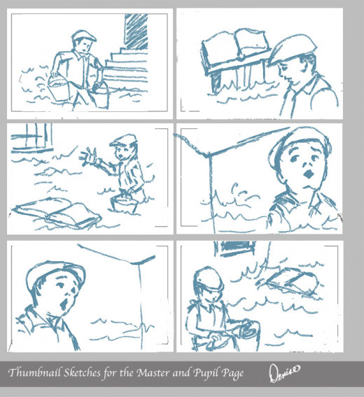 This is a grouping of the thumbnail sketches for this illustration