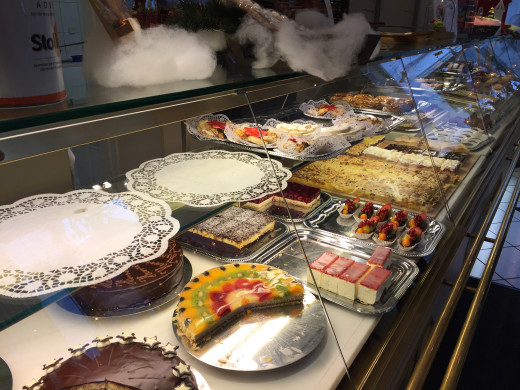 The amazing selection of cakes at Kaffee Hartmann