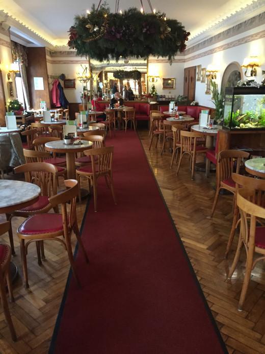 Inside Kaffee Hartmann at late afternoon