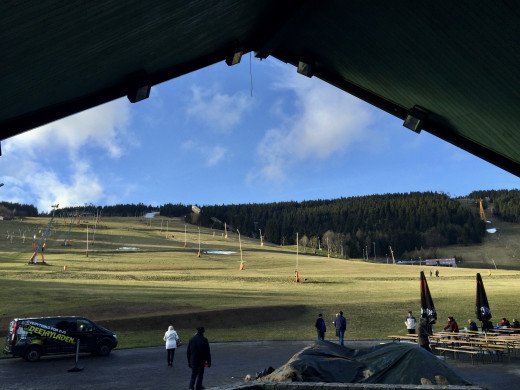 The green ski slopes in Oberweisenthal