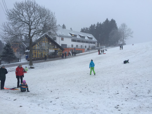 Tobogganing on the new snow at Oberweisenthal
