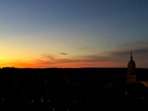 Sunset over Annaberg-Bucholz from my friends' apartment