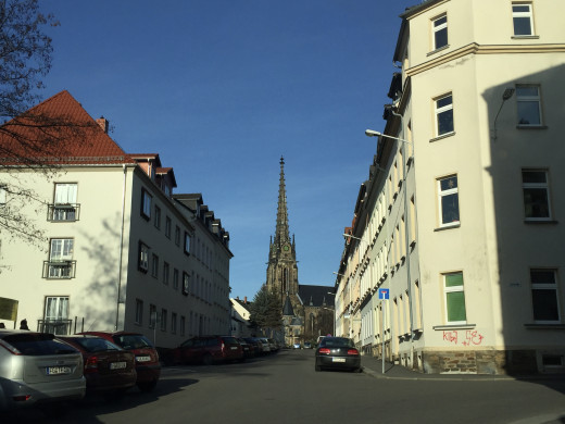 Driving through the streets of Freiberg