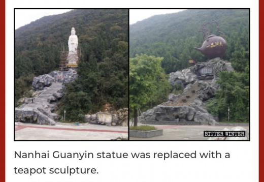 A Chinese statue is replaced by a teapot by the authorities.