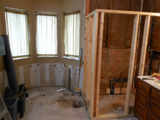 Frame-Up for new shower enclosure completed