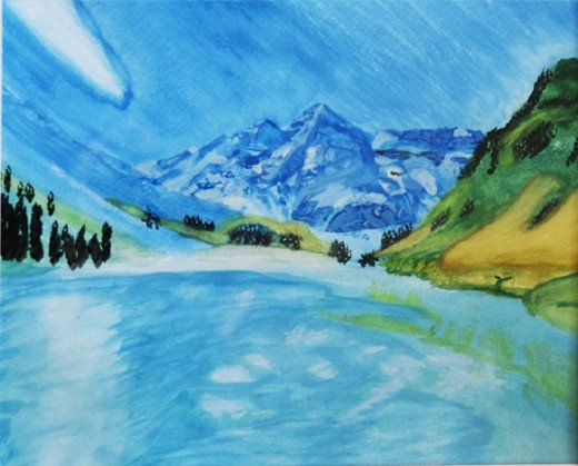 The Maroon Bells of Colorado in Watercolors: For this painting, I used a sponge brush and some other basic brushes, along with very basic watercolor paint on watercolor paper. It was painted from a photo, but I used artistic license to make it icy.