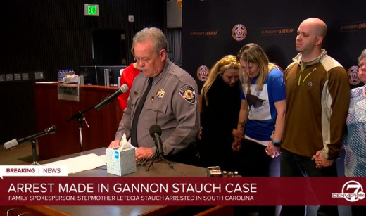El Paso County, Colorado, Sheriff Bill Elder with the family of Gannon Stauch at press conference announcing the arrest of Gannon's stepmother, Letecia Stauch.