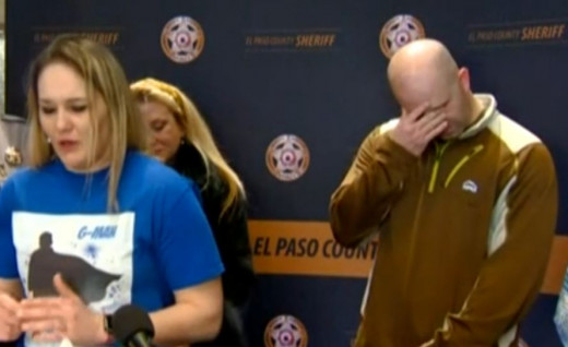 Al Stauch breaks down during the press conference announcing the arrest of his wife Letecia Stauch for the murder of his son Gannon.